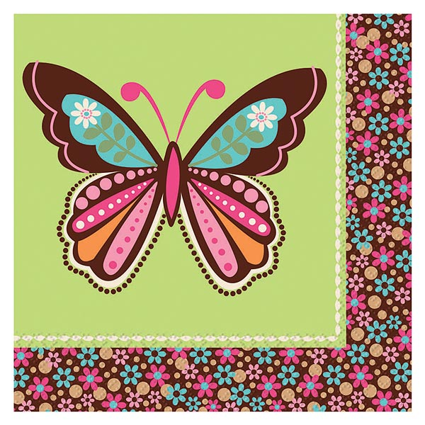 Serviettes hippie chick papillon pour 3€