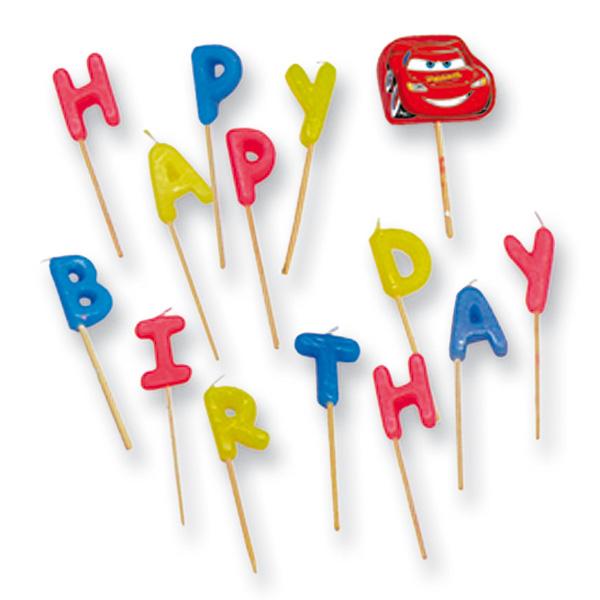 Bougies joyeux anniversaire cars pour 6€