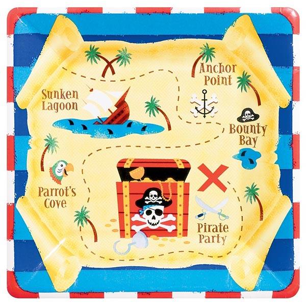 Assiette carrée pirates pour 4€