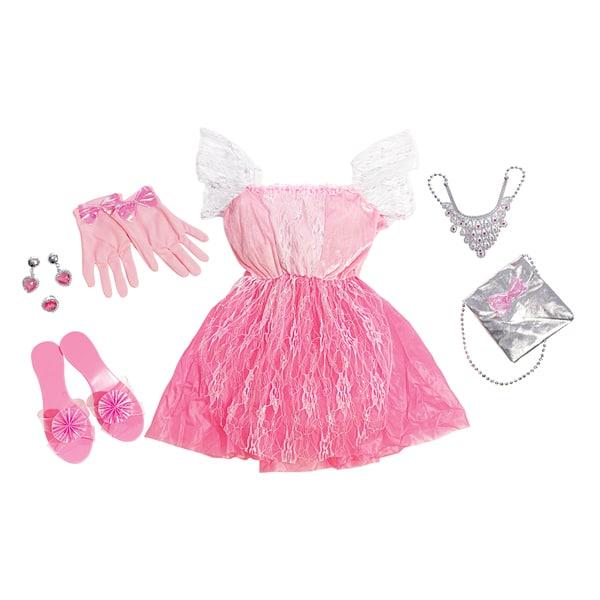 Quelle petite fille n´a jamais rêvé d´être une princesse ? Avec ce déguisement c´est enfin possible. Un costume de princesse livré avec des accessoires : chaussures, gants, bijoux et un sac. Taille de la panoplie : 4/6 ans.