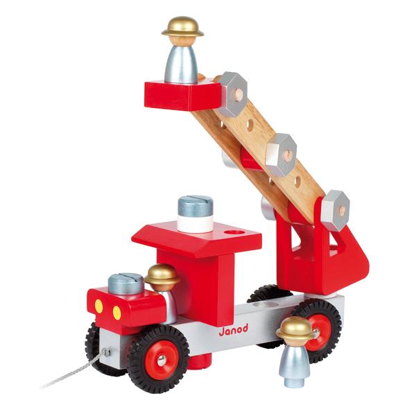 Camion de Pompiers en bois Janod  King Jouet, Activités d  ~ Jeux De Camion De Bois
