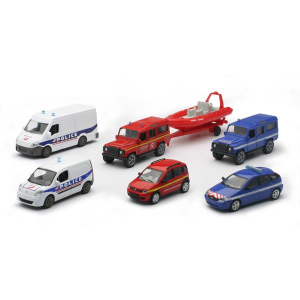 Un coffret de 7 véhicules de secours, Police, Gendarmerie et Pompiers. Modèle à l´échelle : 1/43. ème.