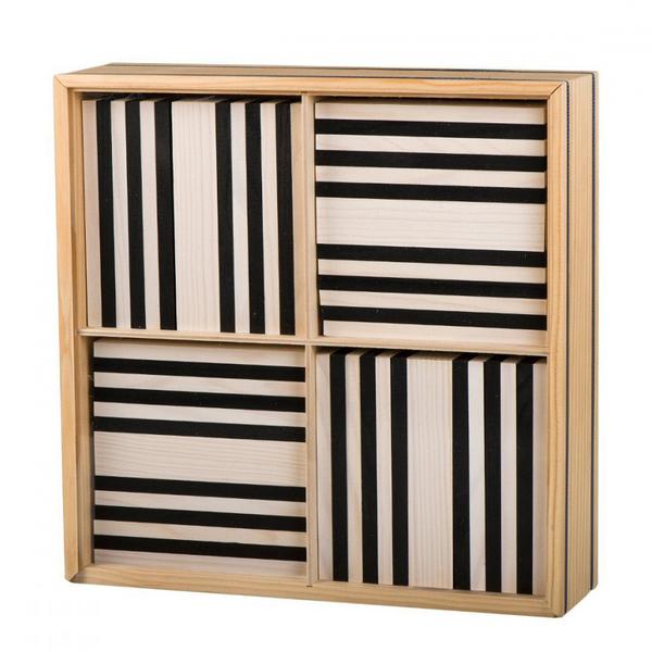100 planchettes en bois Kapla noires et blanches