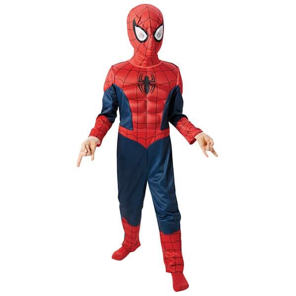 Votre enfant va adorer se glisser dans la peau du héros de comics, Spiderman. Avec le déguisement enfant luxe Spiderman, il dispose d´une magnifique combinaison imprimée avec muscles en relief et d´une cagoule. Taille M : 5-6 ans