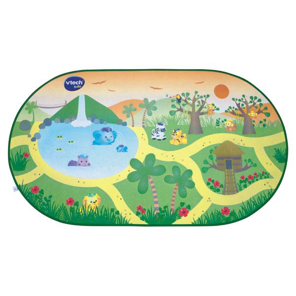 Un super tapis sur le thème du safari pour sinventer des kilomètres dhistoires en compagnie des Tut Tut Animo. Dimensions : 120 x 67 cm. Livré sans animal.