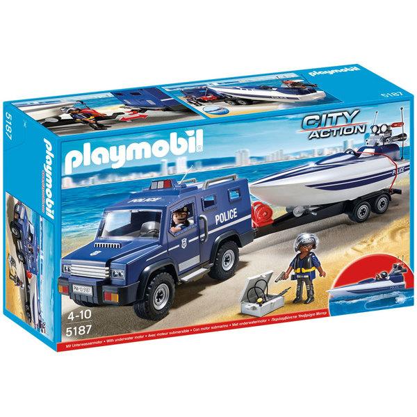 Playmobil les policiers voiture et moto de police - Caserne de police playmobil ...
