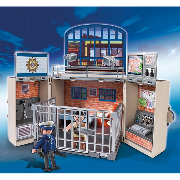 playmobil 5421 coffre transportable poste de police moins cher police et pompiers playmobil. Black Bedroom Furniture Sets. Home Design Ideas