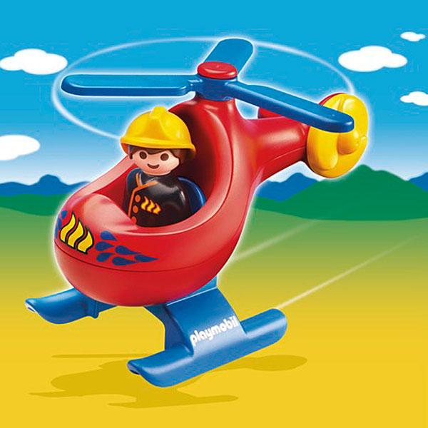 6789-Pompier avec hélicoptère - Playmobil 1.2.3