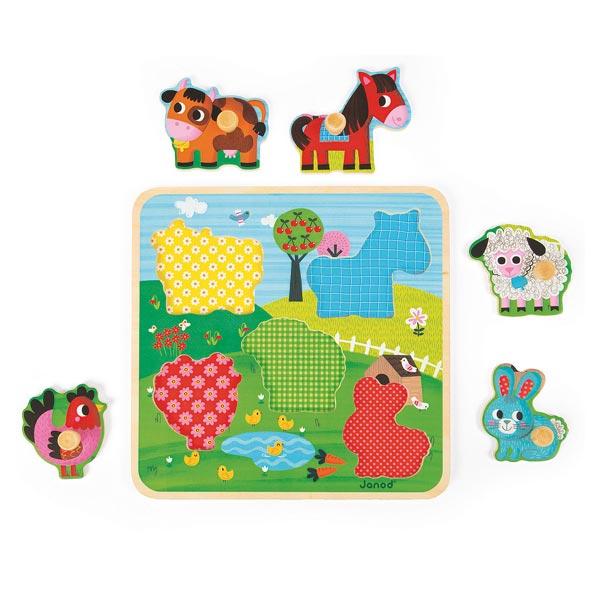 Puzzle en bois ferme du bonheur 5 pièces