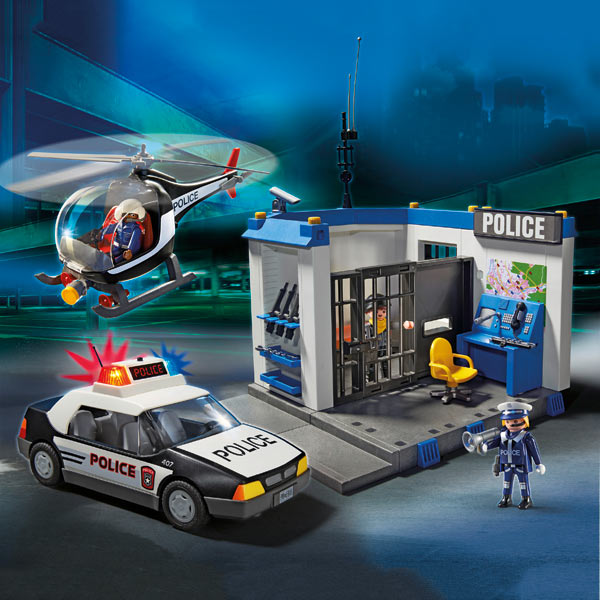 playmobil 5607 poste de police avec helicoptere et voiture de police moins cher police et. Black Bedroom Furniture Sets. Home Design Ideas