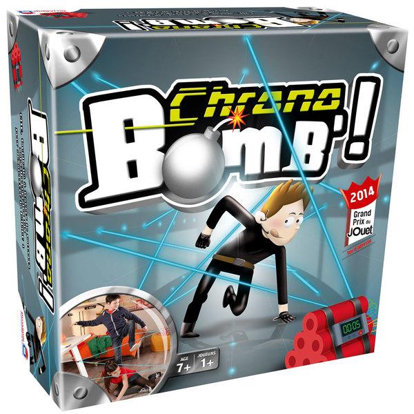 Chrono Bomb´ est un jeu d´adresse, de créativité et d´agilité. Le but est de désamorcer une bombe sans toucher les lasers (fils) dans le temps imparti. Original et plébiscité à la fois par les enfants et les parents, le jeu se réinvente à chaque fois grâc