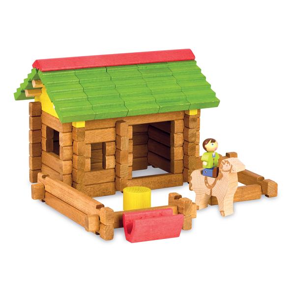 Le chalet en bois réinventé pour les plus petits : les pièces de construction en hêtre massif sont beaucoup plus grosses pour faciliter lapprentissage de la construction des chalets pour les plus jeunes enfants. Comme pour les chalets traditionnels, les p