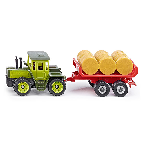 tracteur avec remorque ballots