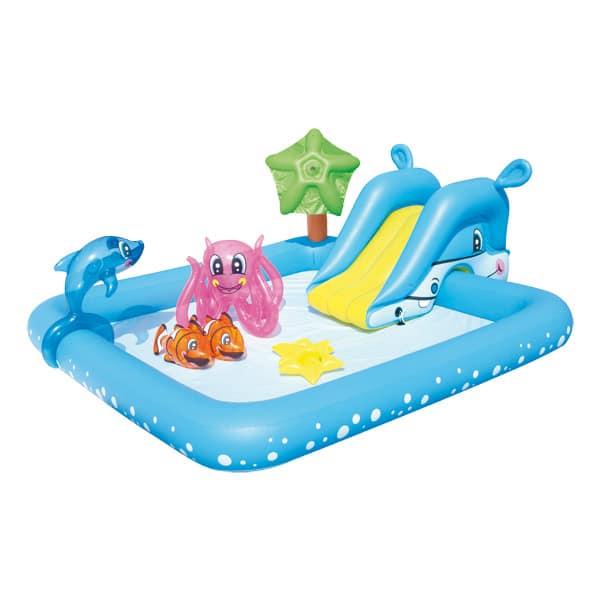 piscine aquarium toboggan dauphin logitoys king jouet. Black Bedroom Furniture Sets. Home Design Ideas
