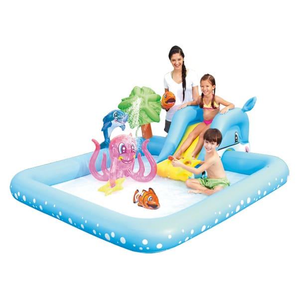 piscine aquarium toboggan dauphin logitoys : king jouet, piscines