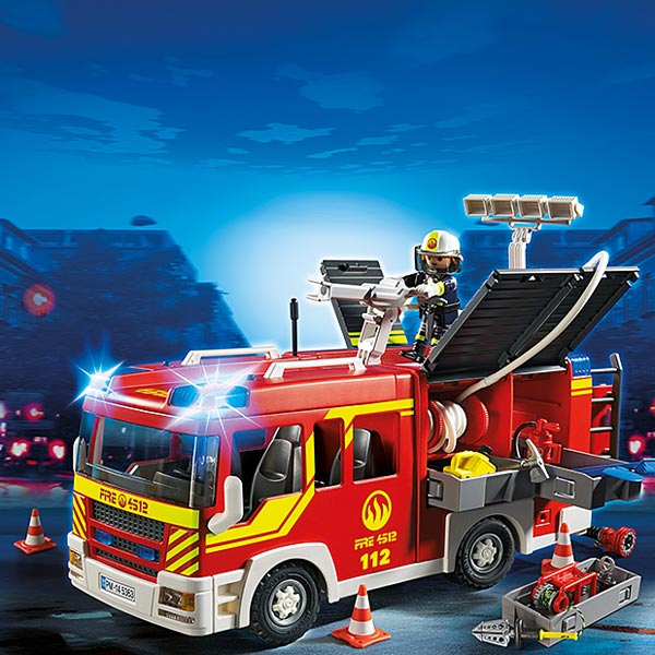 5363 fourgon de pompier avec sir ne et gyrophare playmobil pompiers et a roport playmobil. Black Bedroom Furniture Sets. Home Design Ideas