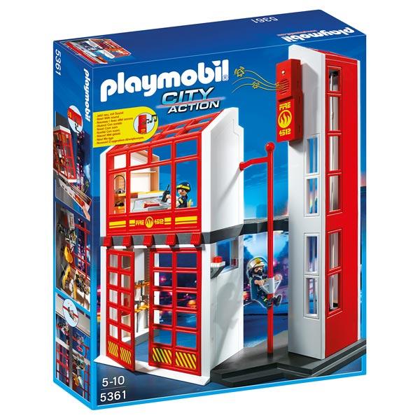 5361 caserne de pompiers avec alarme playmobil pompiers et aroport - Playmobil Pompier