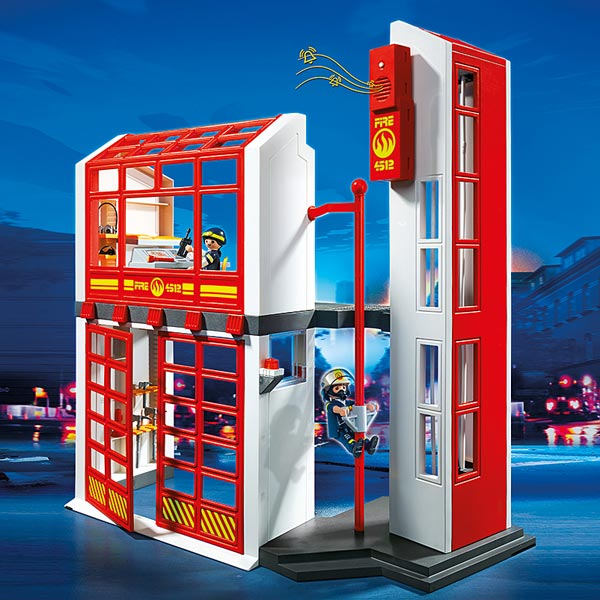5361 caserne de pompiers avec alarme playmobil pompiers. Black Bedroom Furniture Sets. Home Design Ideas