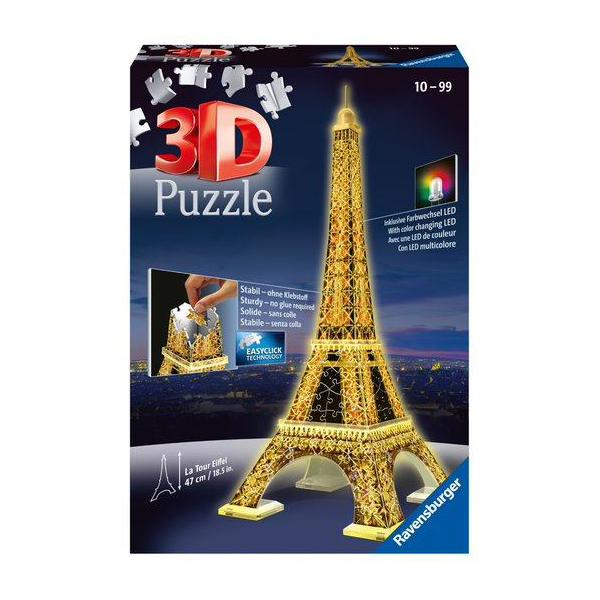 puzzle 3d tour eiffel led 216 pi ces ravensburger king. Black Bedroom Furniture Sets. Home Design Ideas