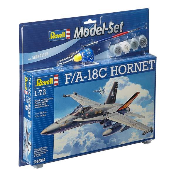 Maquette avion militaire Mc Donnel Douglas F/A 18C Hornet Echelle : 1/72 Nombre de pièces : 88 Contenu du kit : - Colle aiguille - 1 pinceau double - Pots de peintures acryliques 5 ml : 5,9,57,76