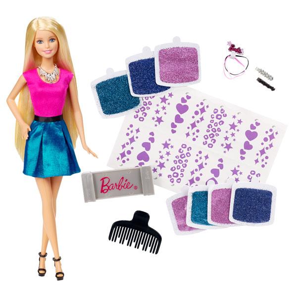 Barbie styles et paillettes mattel king jouet poup es for Peinture boiro jeu deffet paillettes