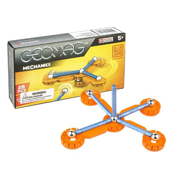 Coffret de construction Geomag Mechanics de 28 pièces. La gamme Geomag Mechanics permet à l´enfant d´exploiter le duo électromagnétisme et mécanique. Composé de barrettes magnétiques et sphères mais aussi d´accessoires afin de vivre une nouvelle expérienc