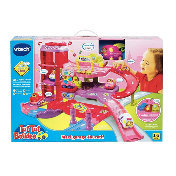 maxi garage educatif tut tut bolides rose vtech king jouet garages et circuits vtech. Black Bedroom Furniture Sets. Home Design Ideas