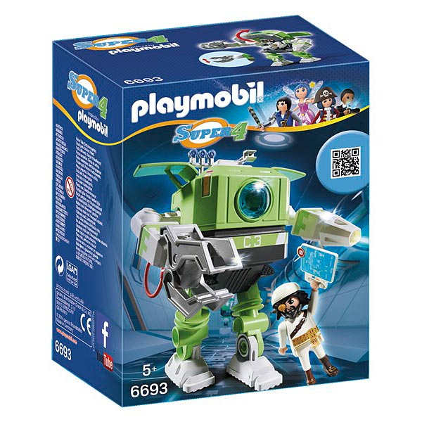 Retrouvez les héros du dessin animé Super4. Barbe de requin peut s´installer dans le cockpit du robot. Contenu : - 1 figurine - Robot Cleano - une malette