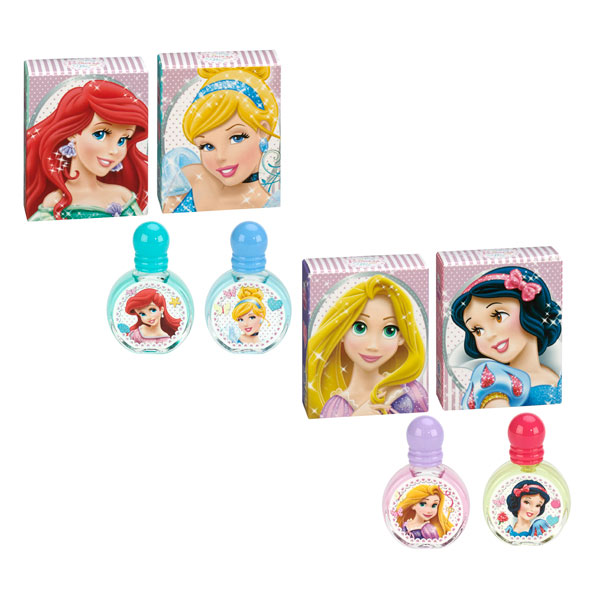 Un jolie coffret comprenant 4 parfums à l´éffigie des Princesses Disney : Blanche Neige, Cendrillon, Belle et Ariel. Contenance de chaque parfum 7 ml.