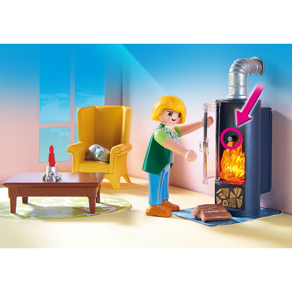 5308 salon avec po le bois playmobil dollhouse playmobil king jouet playmobil playmobil. Black Bedroom Furniture Sets. Home Design Ideas