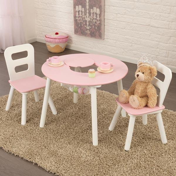 Ensemble table de rangement ronde avec chaises