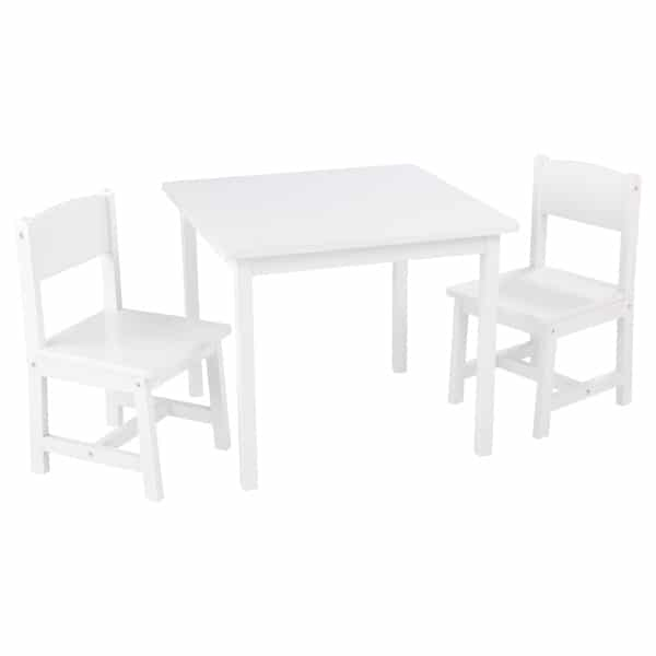 Ensemble table et 2 chaises Aspen blanc