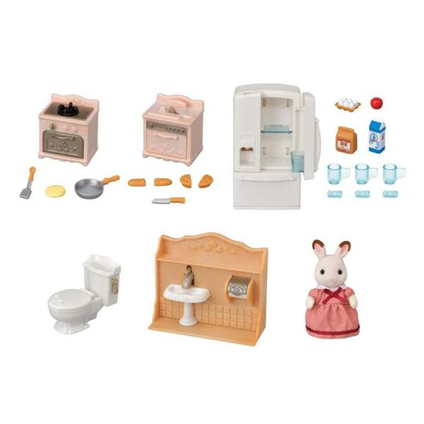Sylvanian Families - 5449 - Set ameublement cosy cottage et maman lapin chocolat