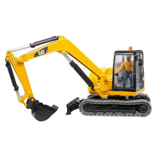 Mini excavatrice Caterpillar avec personnage