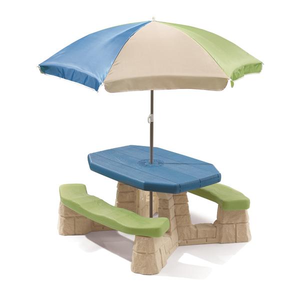 Table Picnic avec parasol beige
