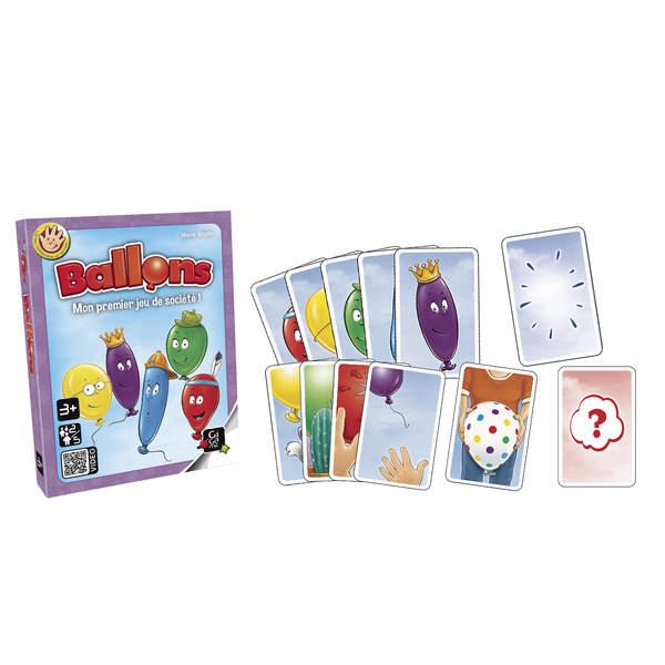 Ballons est idéal comme premier jeu de société. Chaque enfant possède des cartes avec de jolis ballons colorés. Mais le vent, le chat ou les épines peuvent les faire éclater ! Heureusement, maman peut aussi en redonner. Le joueur qui aura en main le plus