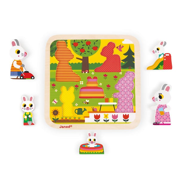 Puzzle lapin Chunky bois 5 pièces