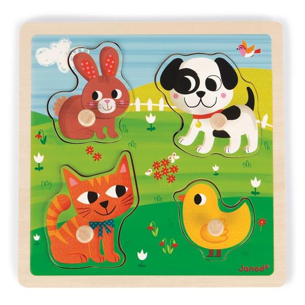Le premier puzzle de bébé. Ce puzzle sur le thème des animaux permettra à votre enfant de développer son toucher et son sens de l´observation. Découvrez les différents pelages des animaux de compagnie en retournant les pièces de puzzle. Grâce aux tenons e