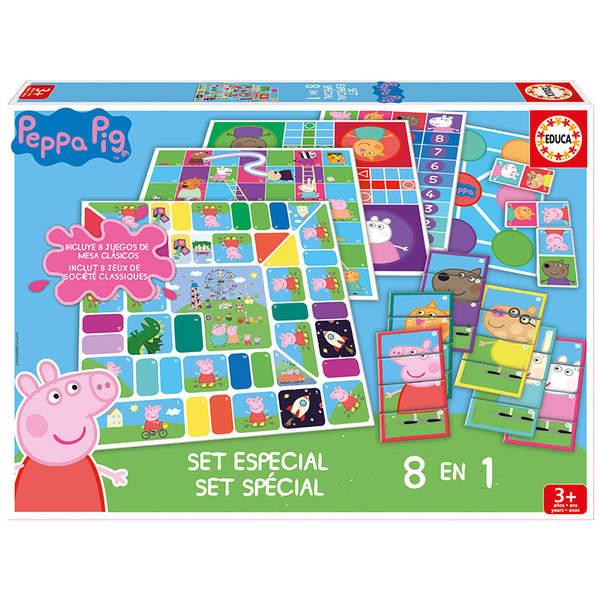 coffret 8 jeux en 1 peppa pig educa king jouet jeux de hasard et parcours educa jeux de soci t. Black Bedroom Furniture Sets. Home Design Ideas