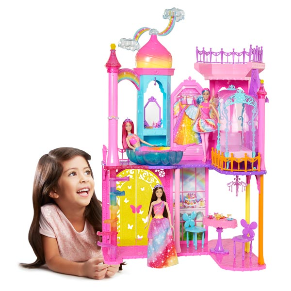 Barbie chateau arc en ciel mattel king jouet poup es - Chateau de barbie ...