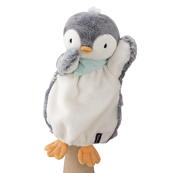 Doudou pingouin marionnette