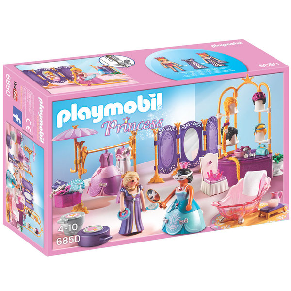 6850 salon de beaut avec princesses playmobil princess for Chambre princesse playmobil