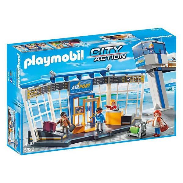 5338-Aeroport avec tour de controle - Playmobil pompiers et aéroport