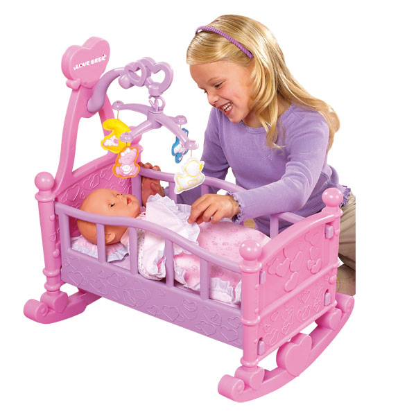 berceau bascule pour poup es love bebe king jouet. Black Bedroom Furniture Sets. Home Design Ideas