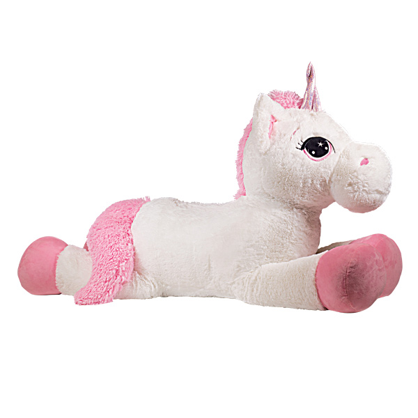 peluche licorne 120 cm blanche rose superstar king jouet peluches superstar poup es peluches. Black Bedroom Furniture Sets. Home Design Ideas