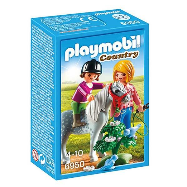 6950-Cavalière avec soigneur et poney - Playmobil Country