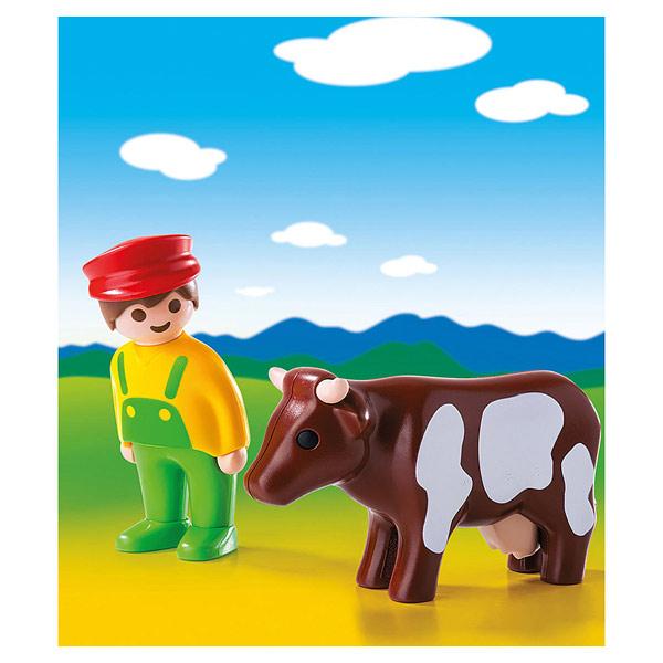 6972-Eleveur avec vache - Playmobil 1.2.3