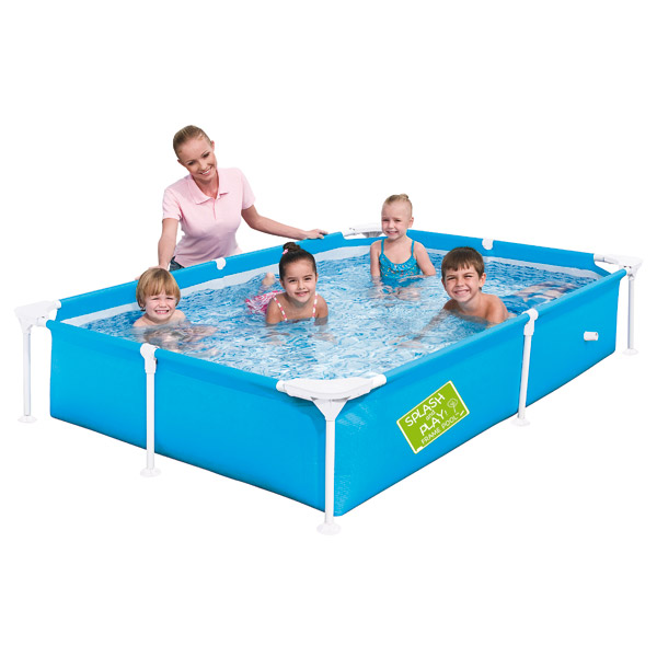 Ma 1 re piscine tubulaire bleu logitoys king jouet for Piscine gonflable babou