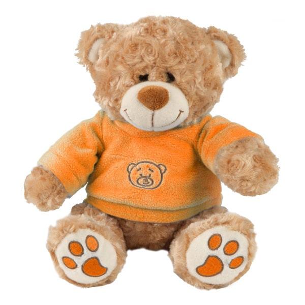 Trop attendrissant cet ours de 37 cm. Avec son petit regard malicieux et son joli t-shirt orange il est vraiment mignon.