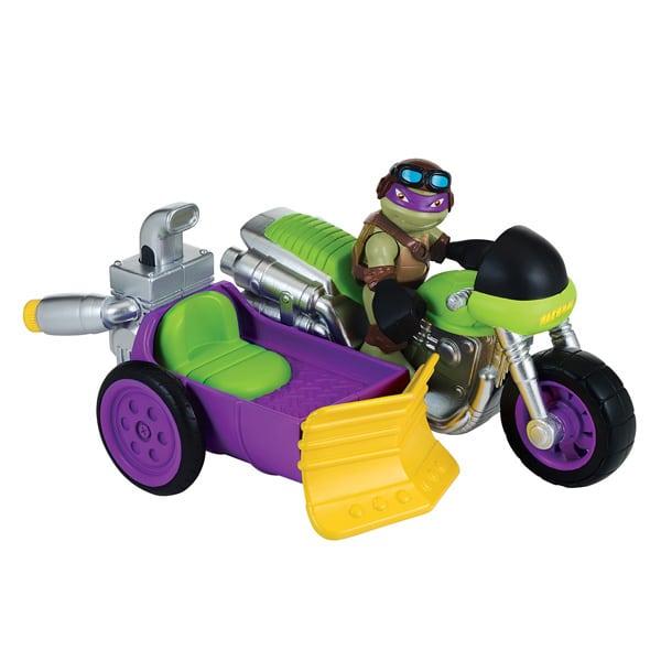 tortue ninja vhicule et figurine 6 cm donatello sidecar